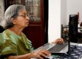 Work at home senior woman
